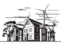 Maisons de campagne, énergie de substitution  illustration libre de droits