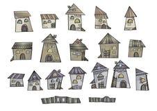 Maisons de dessin de conte de fées de vecteur de bande dessinée illustration libre de droits