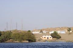 Maisons de fleuve de Nil, Aswan Image libre de droits