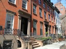 Maisons de grès de New York City au voisinage historique de Brooklyn Heights photos stock
