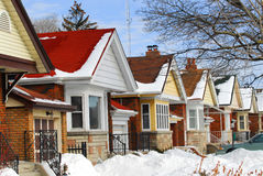 Maisons de l'hiver Photos stock