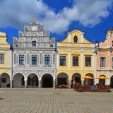 Maisons de la Renaissance dans la ville de Telc, République Tchèque Images stock