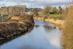 Maisons de la rivière Green photographie stock libre de droits