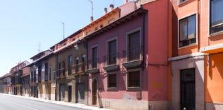 Maisons de logement sur la vieille partie de Léon Images libres de droits