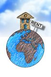 Maisons de loyer autour du monde Image de concept avec la maison sur Images stock