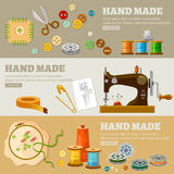 Maisons de mode fabriquées à la main de concept de bannières de tailleur Images libres de droits