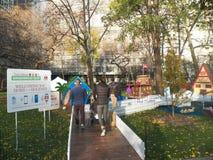 Maisons de pain d'épice grandeur nature automatiques en Madison Square Park Image libre de droits