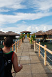 Maisons de plage sur l'eau Photo stock