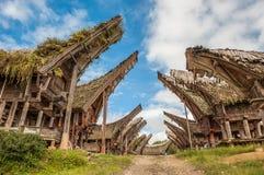 Maisons de Tongkonan, Tana Toraja, Sulawesi Photos stock