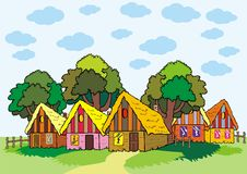 Maisons de village avec le toit par le foin illustration libre de droits