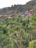 Maisons de village d'Ethnics à 400 ans de secteur de thé de province de Phongsali, Laos Photos stock
