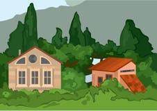 Maisons de village de bande dessinée avec des arbres Images libres de droits