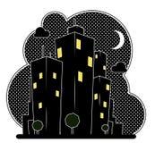 Maisons de ville de nuit Photos libres de droits