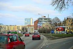 Maisons de ville de Vilnius au centre le 13 mars 2015 Photographie stock libre de droits