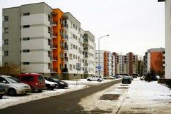 Maisons de ville de Vilnius dans la ville de Nord de secteur de Zirmunai Photographie stock