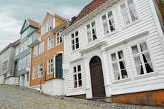 Maisons en bois à Bergen Photos libres de droits