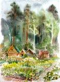 Maisons en bois Photographie stock libre de droits