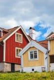 Maisons en bois antiques dans Karlskrona, Suède Photographie stock