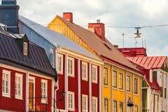 Maisons en bois antiques dans Karlskrona, Suède Photo libre de droits