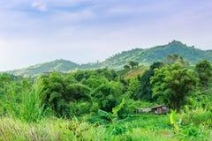 Maisons en bois dans les montagnes et le soleil de matin photo stock