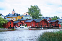 Maisons en bois rouges de Porvoo, Finlande Images libres de droits