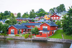 Maisons en bois rouges de Porvoo, Finlande Image stock