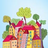 Maisons et arbres lunatiques Images libres de droits