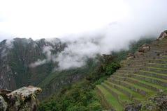 Maisons et terrasses traditionnelles Machu Picchu Images stock