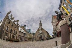 Maisons historiques dans le vieux-Quebecc。 免版税库存照片