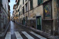 Maisons historiques dans une rue à Florence, Italie Image libre de droits