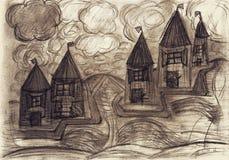 Maisons macabres dans la tempête Photo stock