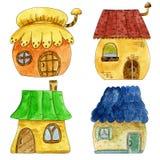 Maisons mignonnes colorées de conte de fées dans le style de bande dessinée Illustration tirée par la main d'aquarelle Photos libres de droits