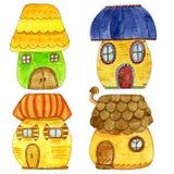 Maisons mignonnes colorées de conte de fées dans le style de bande dessinée Illustration tirée par la main d'aquarelle Images stock