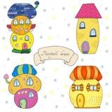 Maisons mignonnes colorées de conte de fées dans le style de bande dessinée Illustration tirée par la main Illustration tirée par Photo stock