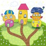 Maisons mignonnes colorées de conte de fées dans le style de bande dessinée Terre magique Illustration tirée par la main de vecte Photo stock