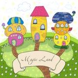 Maisons mignonnes colorées de conte de fées dans le style de bande dessinée Terre magique Illustration tirée par la main de vecte Images stock