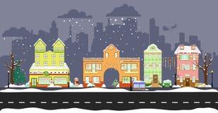 Maisons mignonnes d'hiver Photographie stock libre de droits