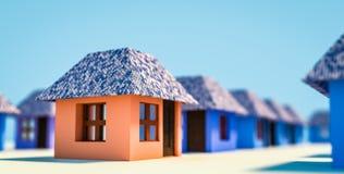 Maisons minimalistic bleues et oranges Photos libres de droits