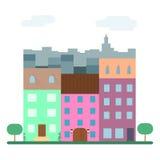 Maisons plates, paysage urbain plat Illustration Stock
