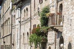 Maisons résidentielles typiques dans la ville d'Assisi, Italie Photographie stock libre de droits