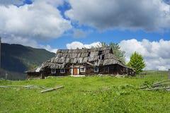Maisons ruinées par Ukrainien dans les Carpathiens Image stock