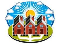 Maisons simples construites des briques avec une voie Image stock