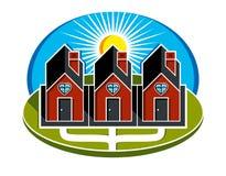 Maisons simples de vecteur avec la voie menant à eux Harmon de famille Images libres de droits