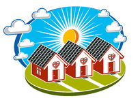 Maisons simples de vecteur avec une voie menant à eux Mal de famille Photo stock