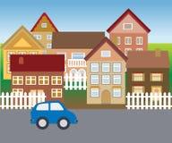 Maisons suburbaines dans le voisinage tranquille illustration stock