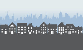 Maisons suburbaines la nuit illustration libre de droits