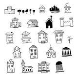 Maisons tirées par la main Photographie stock