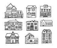 Maisons tirées par la main illustration libre de droits