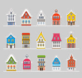 Maisons traditionnelles colorées de vintage d'Amsterdam illustration libre de droits