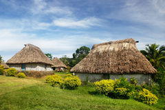 Maisons traditionnelles de village de Navala, Viti Levu, Fidji Photographie stock
